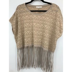 Altard state womens small top fringe cutout boho